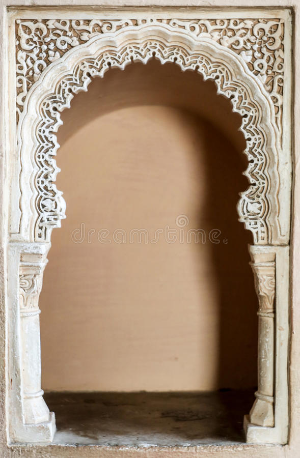 Alcazaba inrearhitecture royaltyfri bild