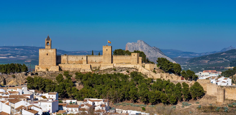 Alcazaba kasztel Antequera w provinceMalaga Andalusia, Hiszpania fotografia stock