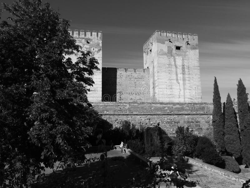 The Alcazaba towers at the Alhambra, Granada, Spain royalty free stock images