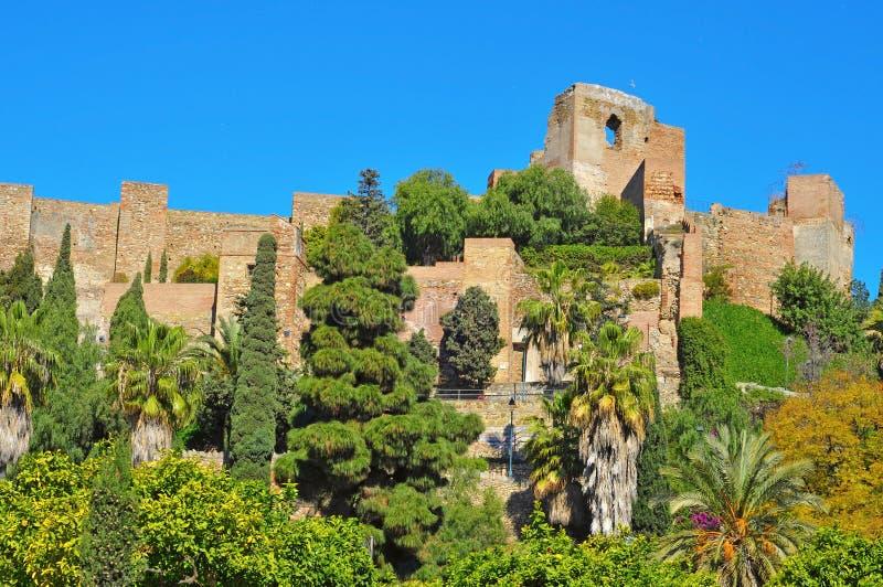 Alcazaba van Malaga, in Malaga, Spanje royalty-vrije stock afbeelding