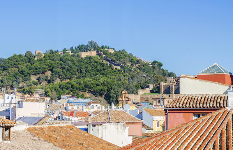 Alcazabaen i Malaga Spanien arkivfoto