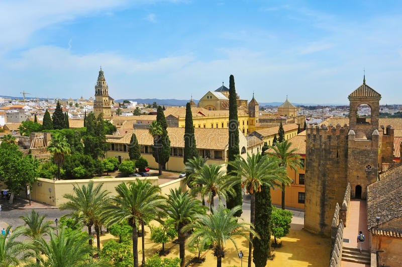 Alcazar and Cathedral Mosque of Cordoba, Spain. View of Alcazar and Cathedral Mosque of Cordoba, Spain stock images
