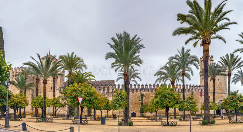Alcazar of Cordoba, Spain. Wall and tower of Alcazar of Cordoba, Spain stock images