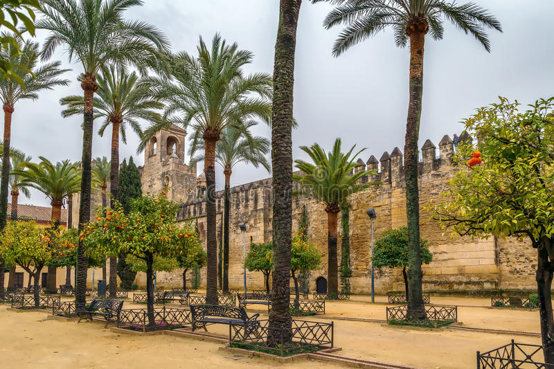 Alcazar of Cordoba, Spain. Wall and tower of Alcazar of Cordoba, Spain royalty free stock photo
