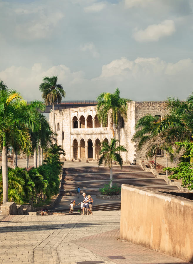 Alcazar de Colon in Santo Domingo, Caribbean. Cloudy royalty free stock photography