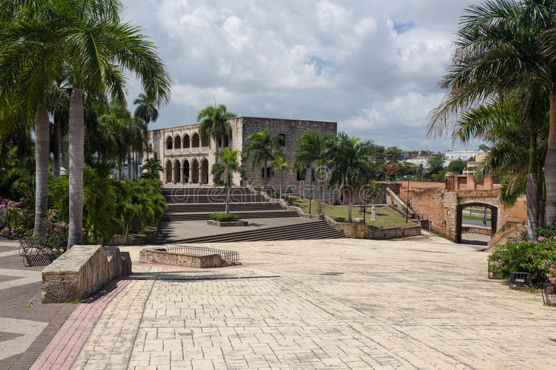 Alcazar de Colon in Santo Domingo, Caribbean. Cloudy. Image taken in August 2014 royalty free stock images