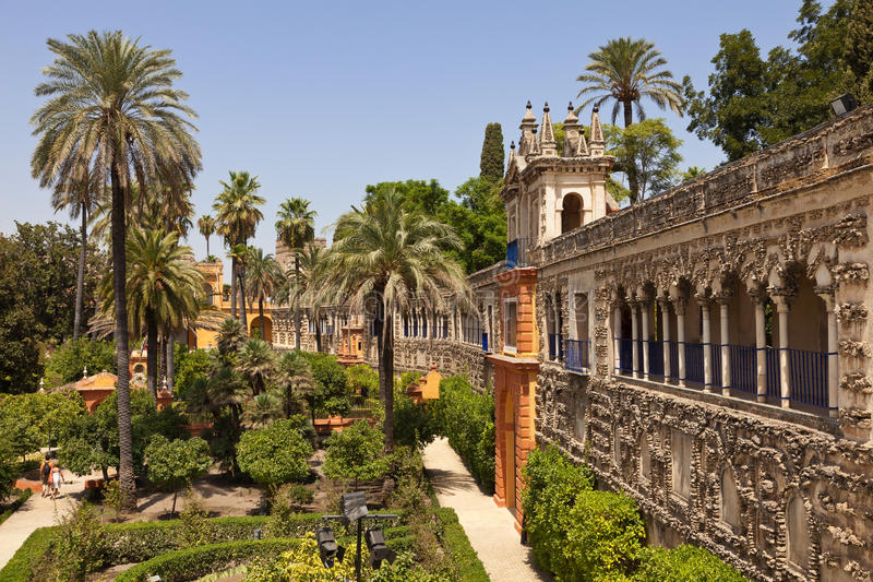 Alcazar de jardins de Sevilha fotos de stock royalty free
