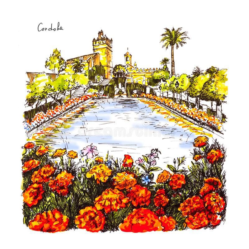 Alcazar de los Reyes Cristianos, Cordoba, Spanien stock illustrationer