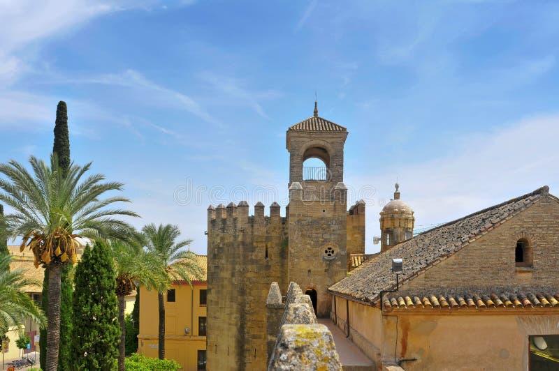 Alcazar de los Reyes Cristianos i Cordoba, Spanien arkivbild
