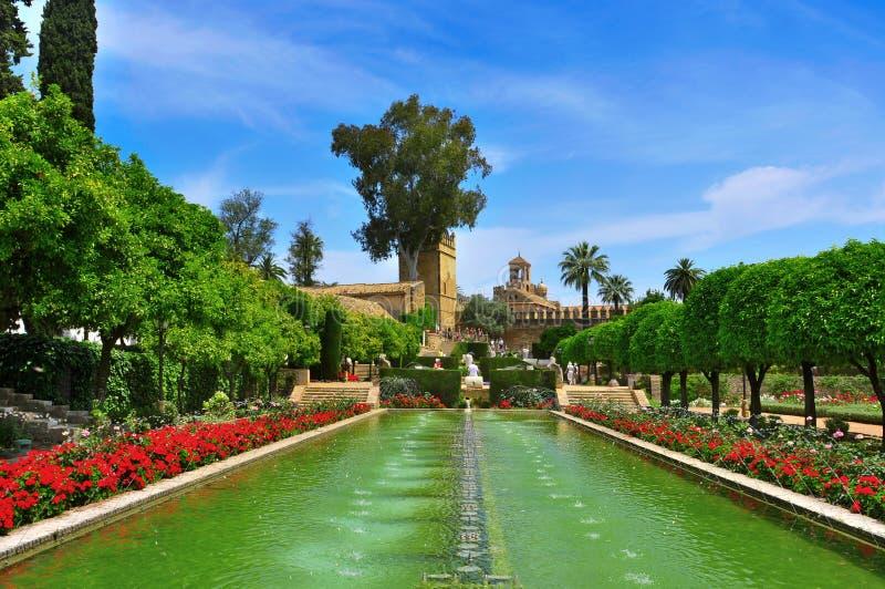 Alcazar de los Reyes Cristianos i Cordoba, Spanien royaltyfri foto