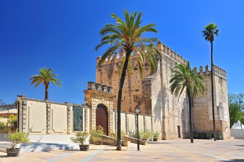Alcazar en la ciudad de Jerez de la Frontera, Costa de la Luz, provincia de Cádiz, Andalucía, España fotografía de archivo