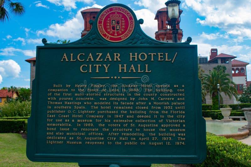 Alcazar hotel podpisuje wewnątrz Lightner Muzealnego teren przy Floryda Historycznym wybrzeżem zdjęcie royalty free