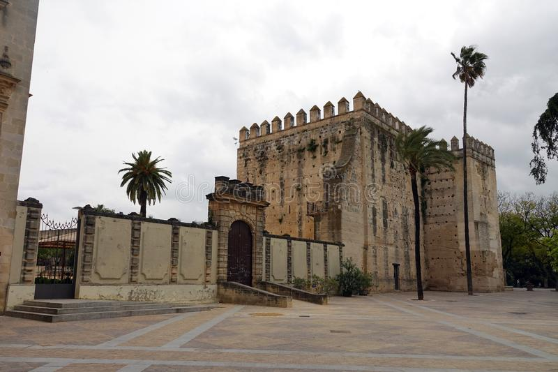 Alcazar of Jerez de la Frontera, Spain. Moorish castle  Alcazar de Jerez de La Frontera near Cadiz in Andalusia, Spain royalty free stock photography