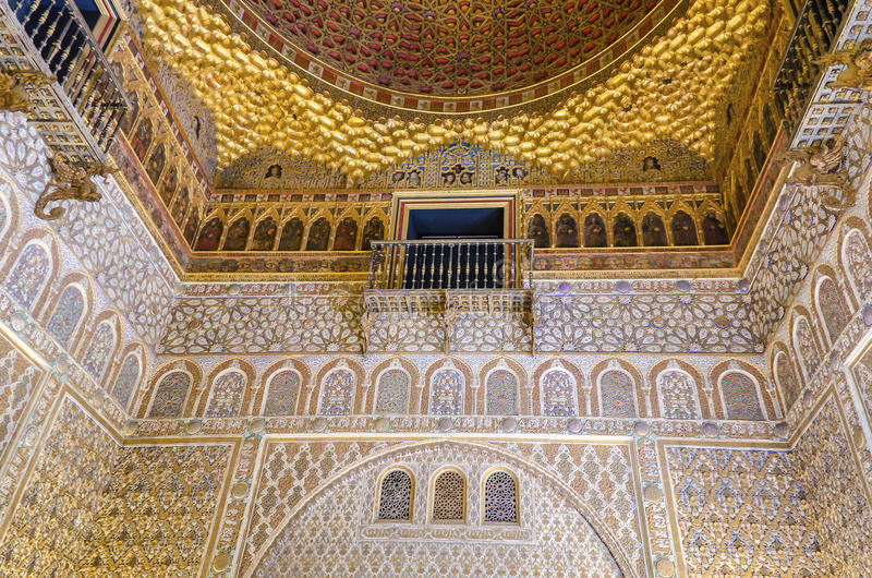 Alcazar. Seville, Spain - May 27, 2015: Moorish architecture inside the Alcazar - a royal palace in Seville, originally developed by Moorish Muslim kings stock image