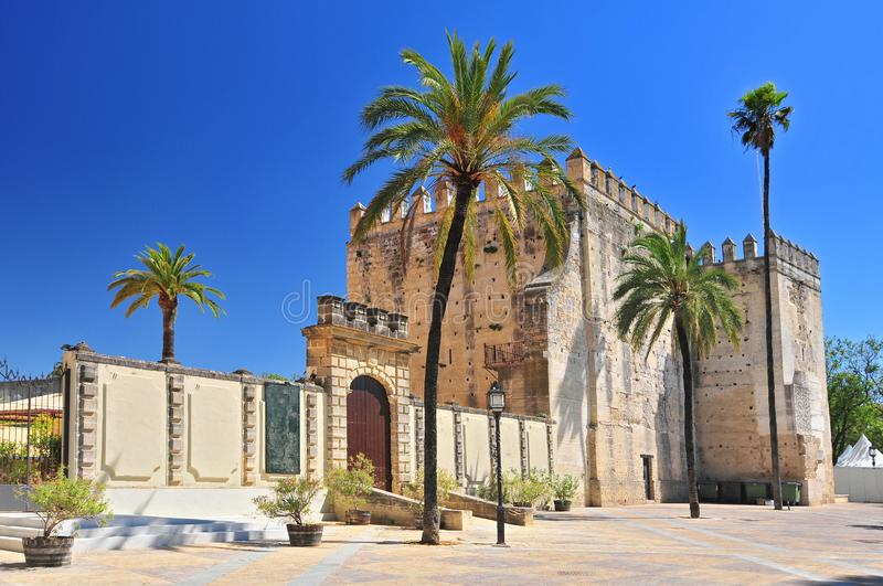 Alcazar in the town of Jerez de la Frontera, Costa de la Luz, Province of Cadiz, Andalusia, Spain. Alcazar in the town of Jerez de la Frontera, Costa de la Luz stock photography