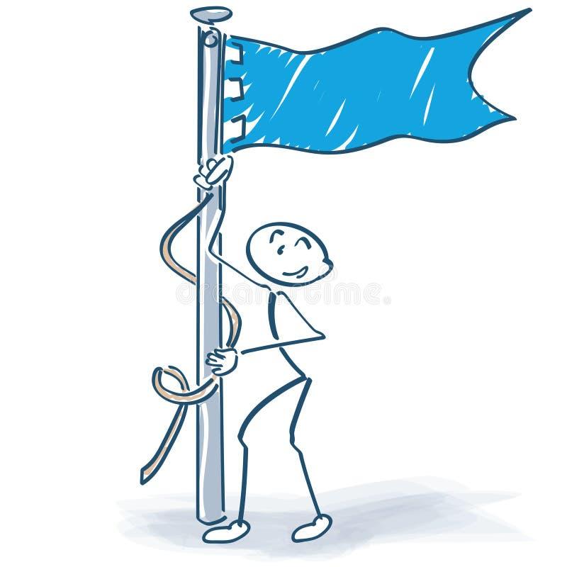 Alce la figura del palillo de la bandera ilustración del vector