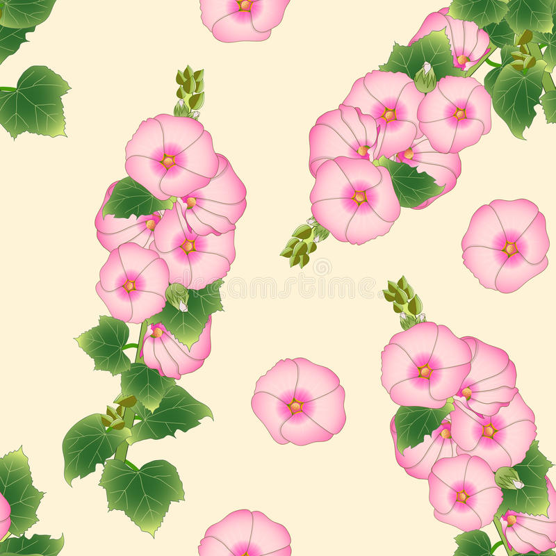 Alcea rosado Rosea - malvarrosas, Aoi en fondo de marfil beige Ilustración del vector libre illustration