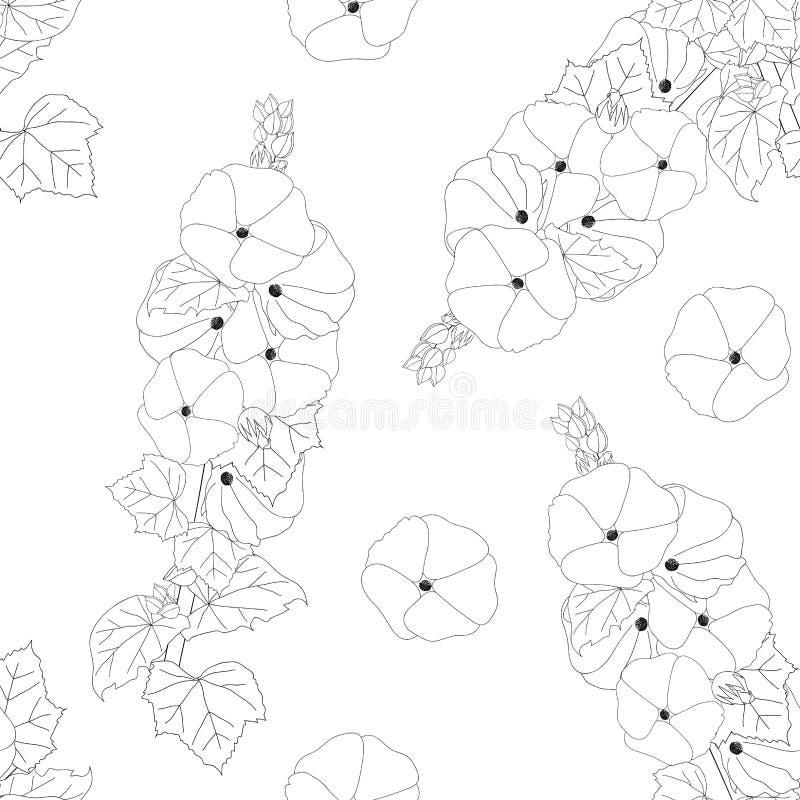 Alcea Rosea - malvarosa, Aoi su fondo bianco Illustrazione di vettore illustrazione di stock