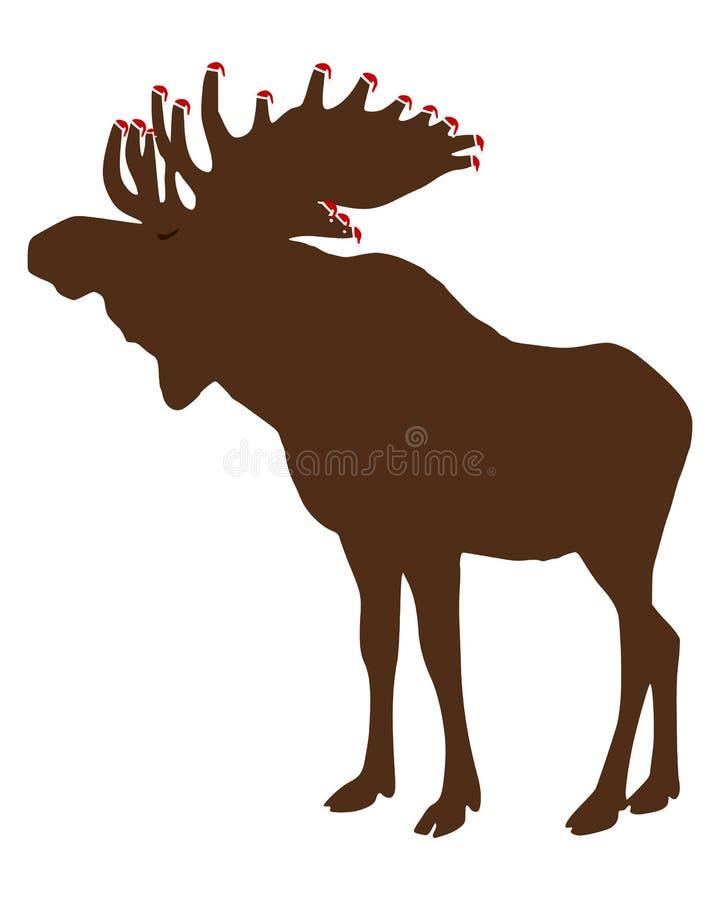 Alces con los casquillos de Papá Noel stock de ilustración