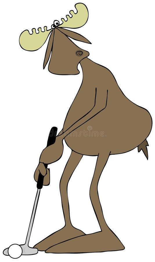 Alces de Bull que põem uma bola de golfe ilustração royalty free