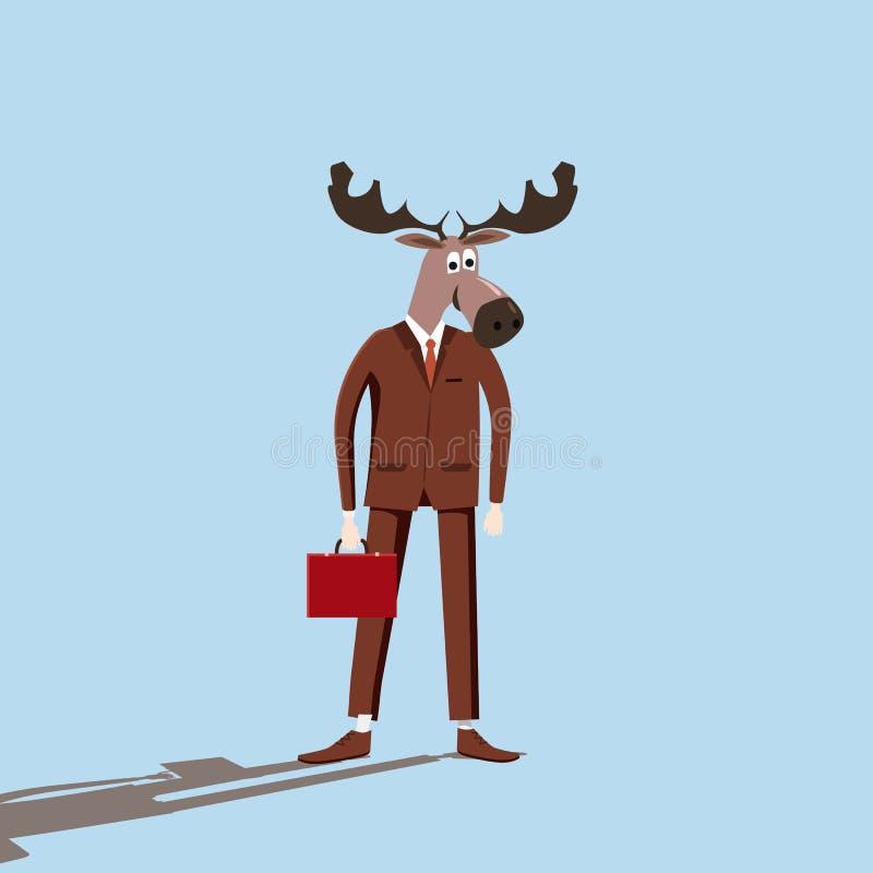 Alces del hombre de negocios, historieta, ironía, vector, ejemplo, estilo de la historieta, aislado stock de ilustración