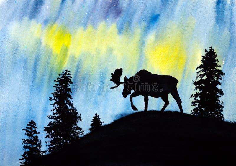 Alces e aurora boreal ilustração stock