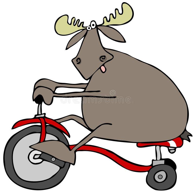 Alces em um triciclo ilustração royalty free
