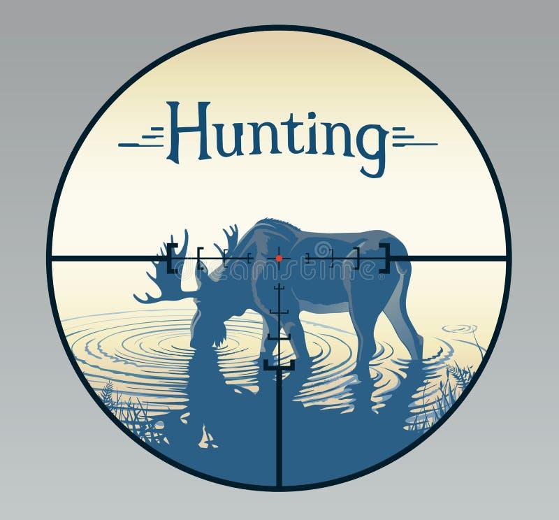 Alces en retículos de la caza ilustración del vector