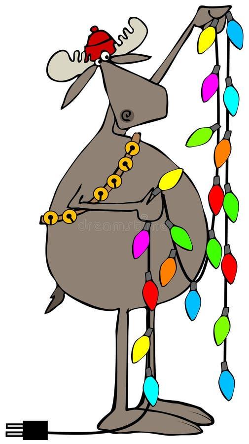 Alces que manejan luces de la Navidad stock de ilustración