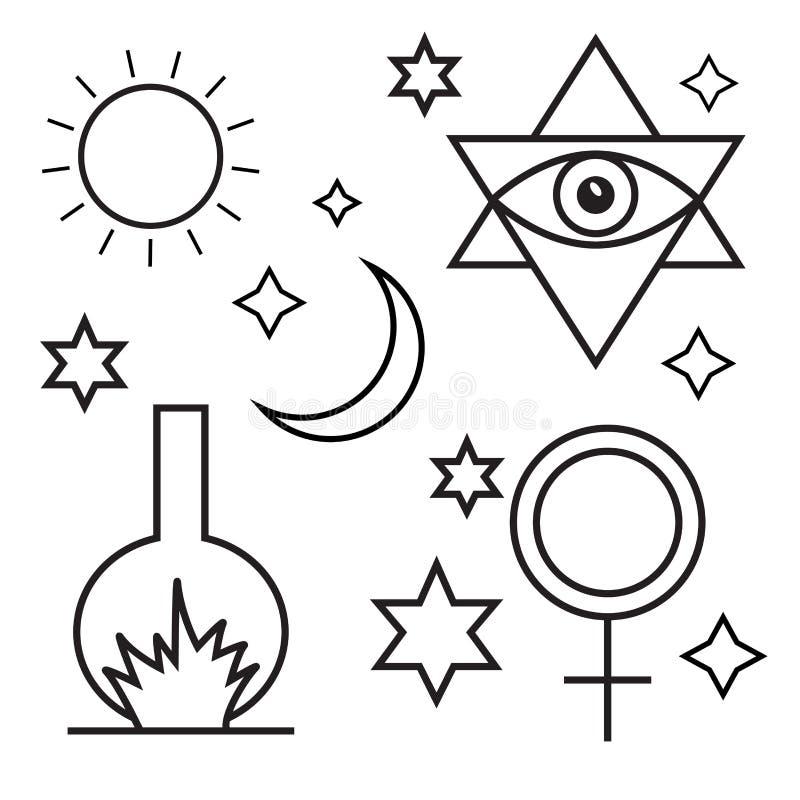 Alchemia, duchowość, okultyzm, chemia, magiczni symbole ilustracji
