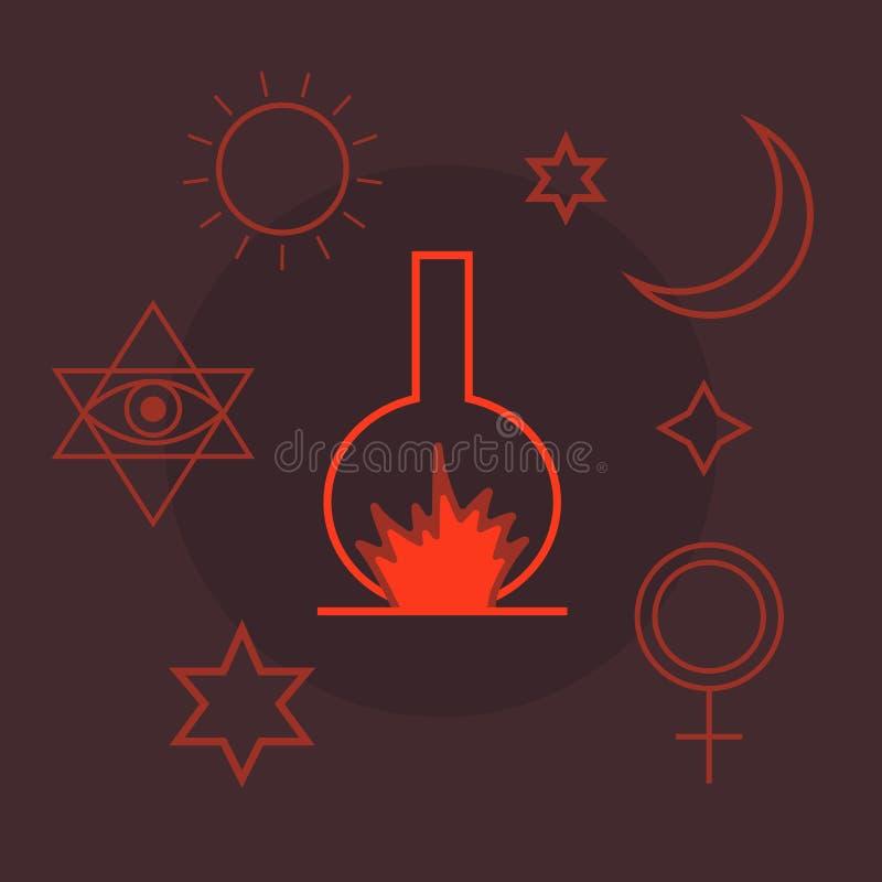 Alchemia, duchowość, okultyzm, chemia, magiczni symbole w mieszkaniu projektuje royalty ilustracja