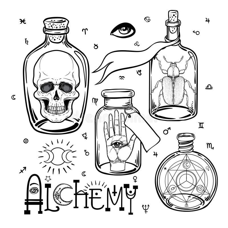 Alchemia symbolu ikony set Duchowość, okultyzm, chemia, mag royalty ilustracja