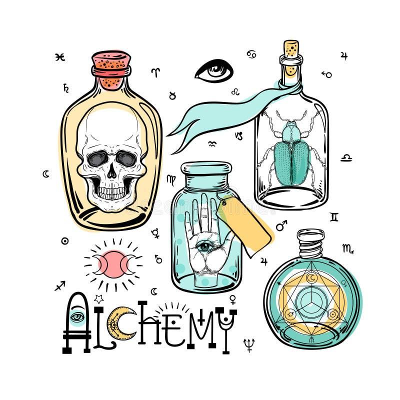Alchemia symbolu ikony set Duchowość, okultyzm, chemia, mag ilustracja wektor