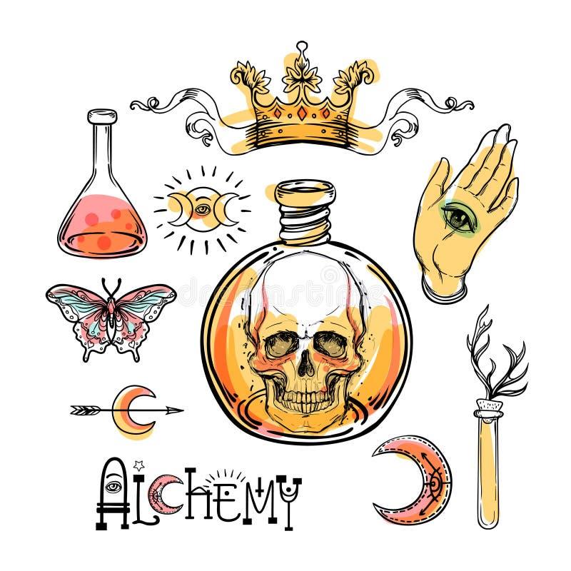 Alchemia symbolu ikony set Duchowość, okultyzm, chemia, mag ilustracji