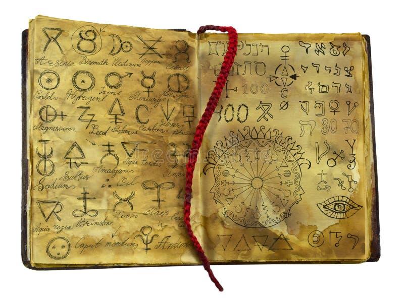 Alchemic bok med mystiker- och fantasisymboler på isolerade sjaskiga sidor stock illustrationer