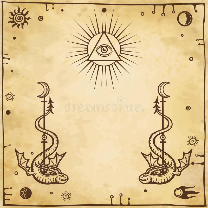 Alchemical drawing: winged snakes, all-seeing eye. stock illustration