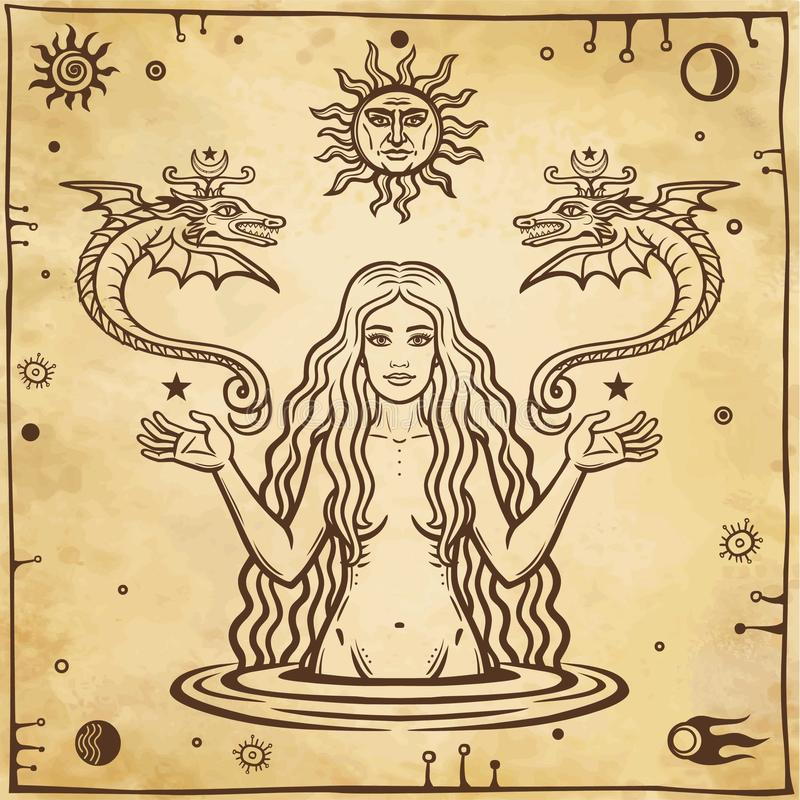 Alchemical drawing: young beautiful woman holds winged snakes in hand. Esoteric, mystic, occultism. stock illustration