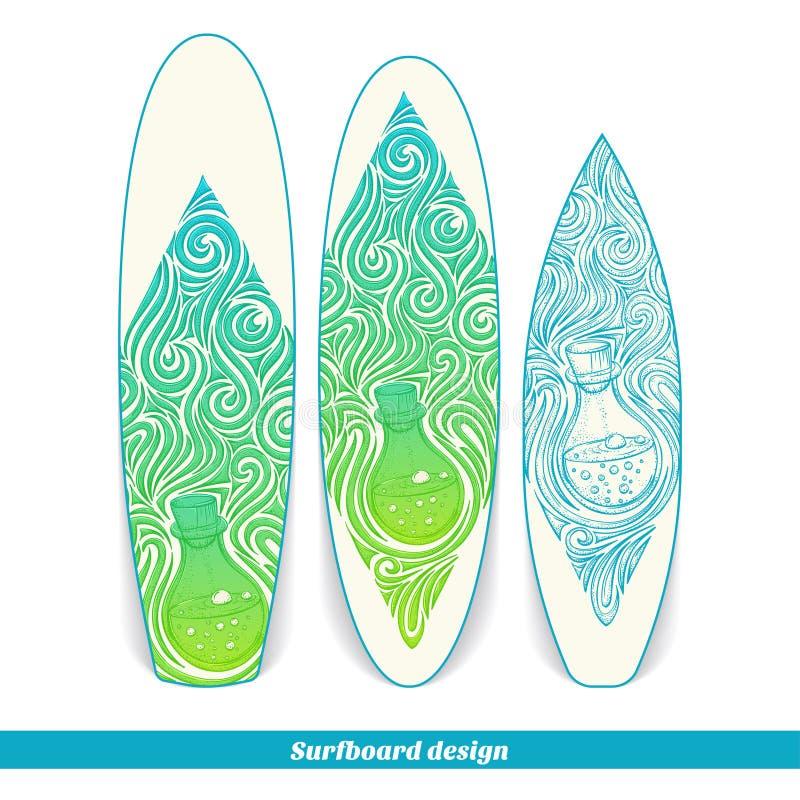Alchemical flaska för surfingbrädadesign royaltyfri illustrationer