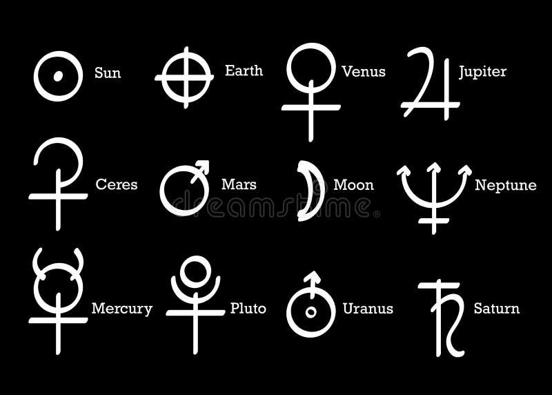 Alchemical symbol ikony ustawiaj? alchemia element?w piktogram S?o?ca, ziemi i planet symbole, Astrologiczni Wicca symbole odosob ilustracji