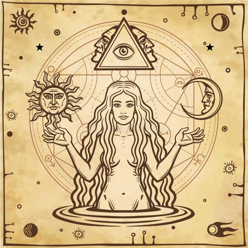 Alchemical teckning: ung härlig kvinna, bild för helgdagsafton` s, fertilitet, frestelse stock illustrationer