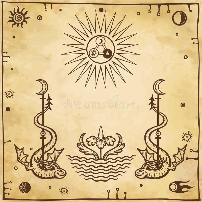 Alchemical Zeichnung: geflügelte Schlangen, Auge gesamt-sehend lizenzfreie abbildung