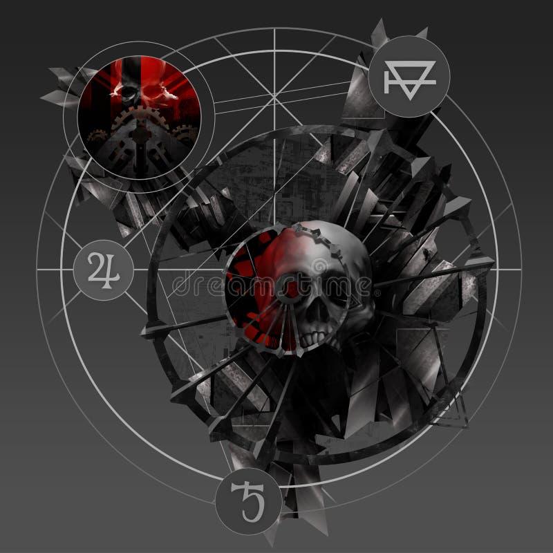 Alchemii czaszka ilustracji