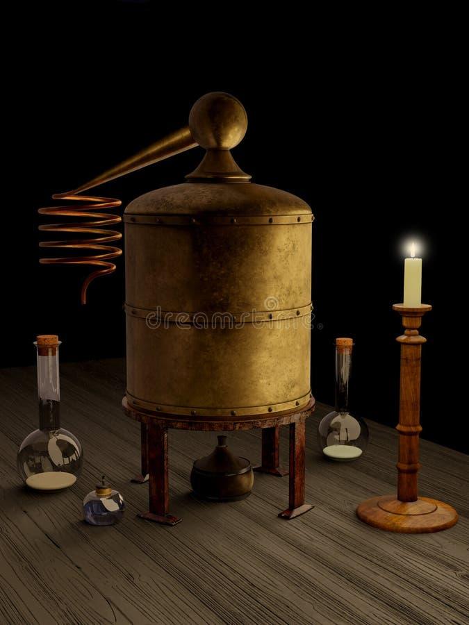 Alchemii laboratorium Wciąż, wyposażenie i ilustracja wektor