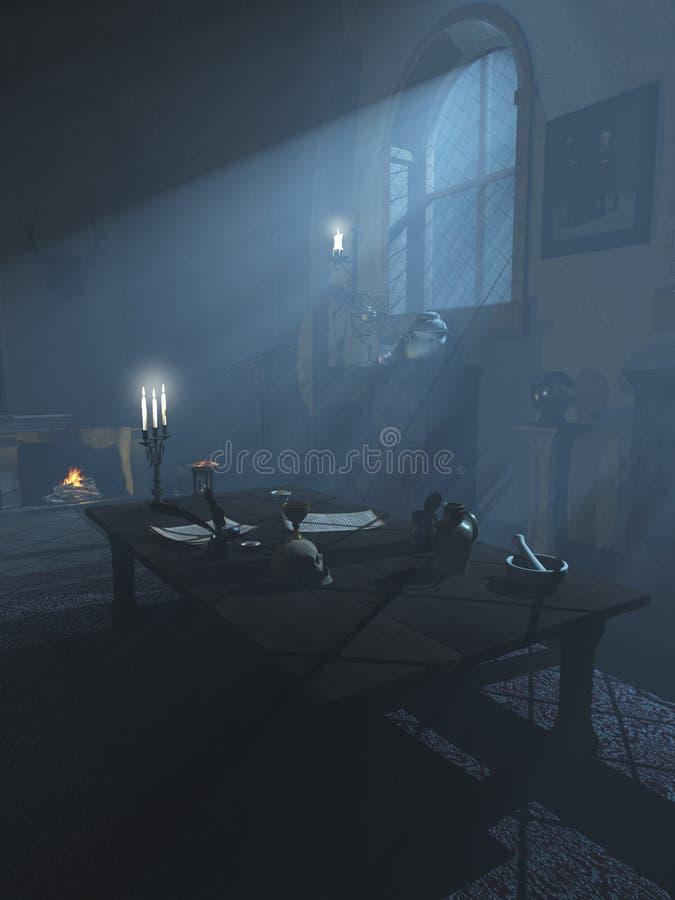 Alchemist`s Study in the Moonlight royalty free illustration