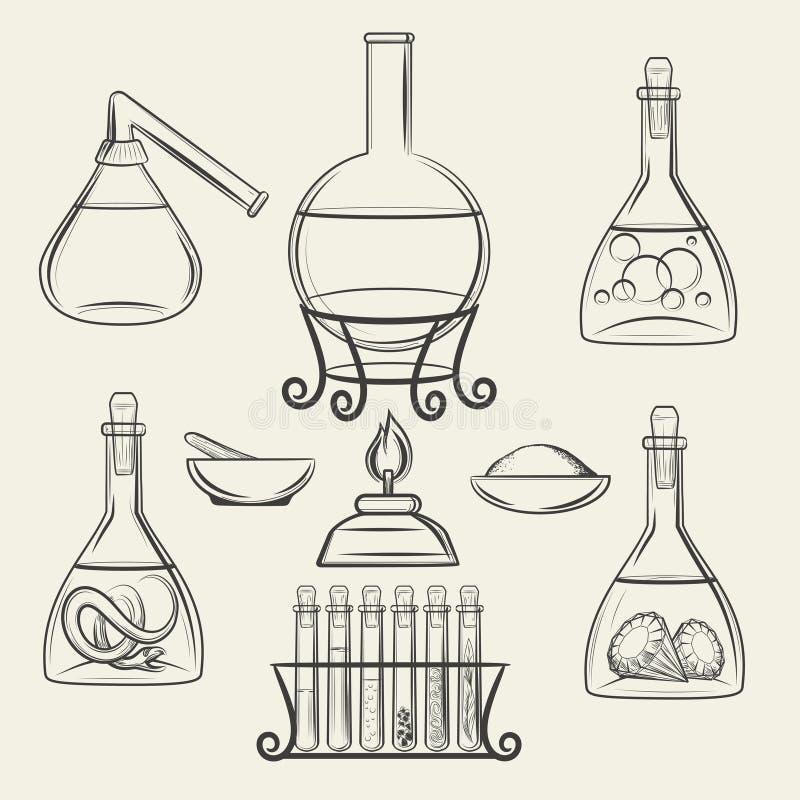 Alchemistische schepen of uitstekend laboratoriummateriaal royalty-vrije illustratie