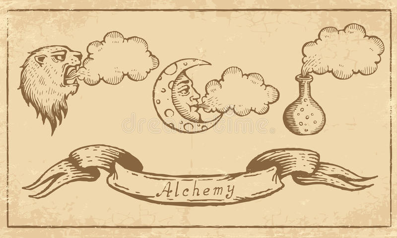 Alchemistische Symbolen stock illustratie