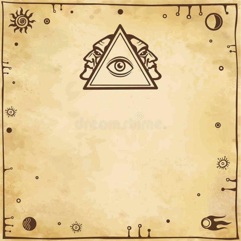 Alchemistische tekening: alle-ziet oog, profiel van de persoon Esoterisch, mysticus, occultisme stock illustratie