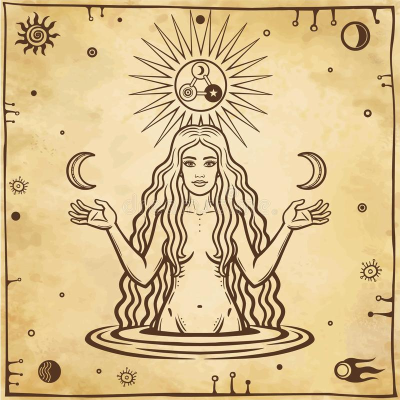 Alchemistische tekening: de jonge mooie vrouw houdt manen in hand vector illustratie