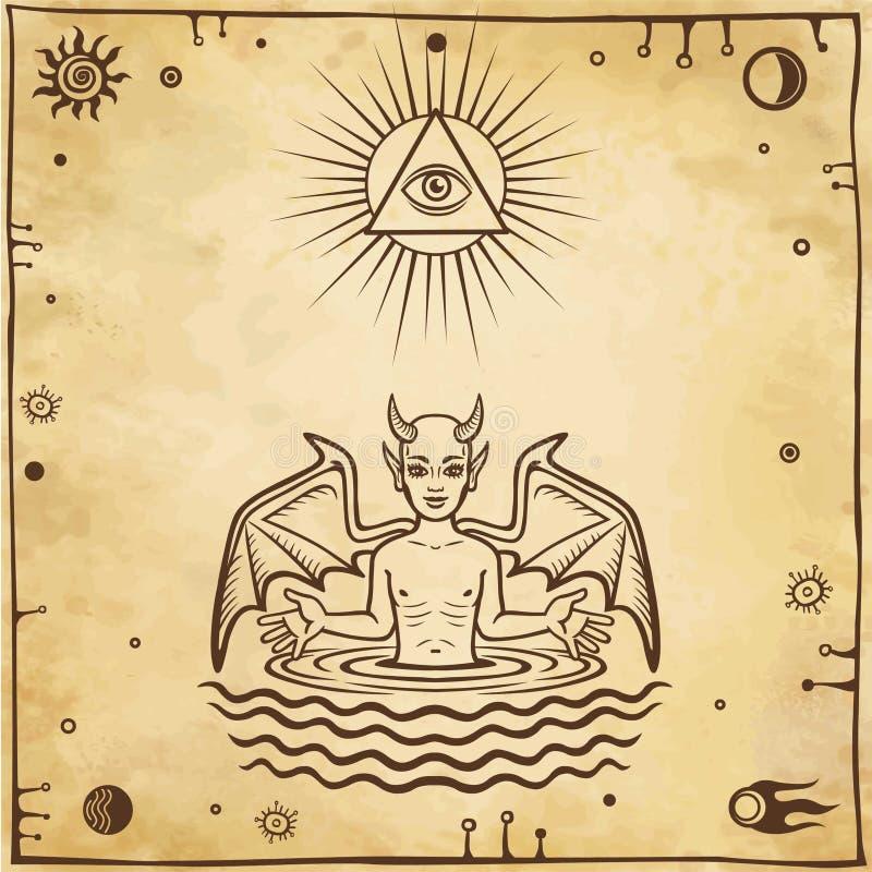 Alchemistische tekening: het kleine demon is geboren van water Esoterisch, mysticus, occultisme vector illustratie