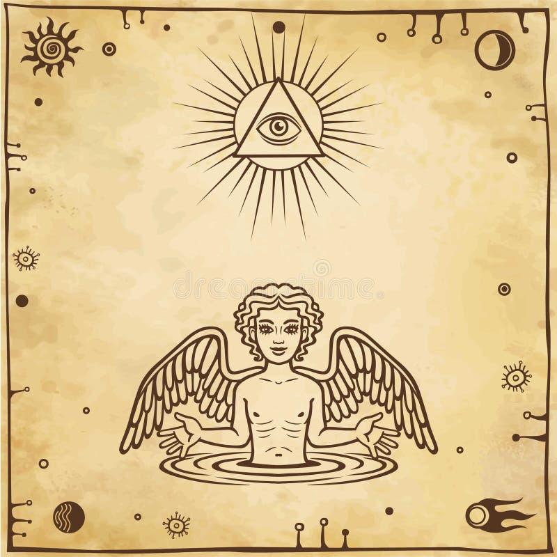 Alchemistische tekening: weinig engel verschijnt van water Esoterisch, mysticus, occultisme stock illustratie